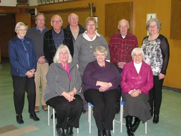 2015 Heritage Renfrew Executive and Board of Directors. Bottom Row Left to Right: Darlene Mask - President, Dulcie Bootland - Secretary, Audrey Green. Back Row: Joyce McBride, Doug Fraser - Treasurer, Jim MacGregor- Vice President, Pat Patterson, Patti Brydges, Earl Martin - Membership Chair, Mary Hass. Missing from photo: Olga Lewis - Town Historian